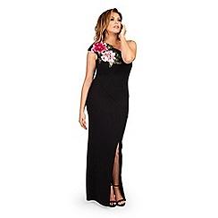 Jessica Wright for Sistaglam - Black 'Delia' one shoulder flower trim maxi dress