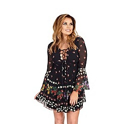 Jessica Wright for Sistaglam - Black 'Daisy' floral print lace-up detail shift dress