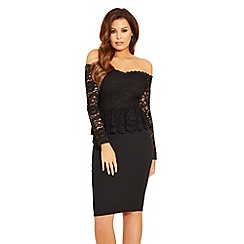 Jessica Wright - Bardot 'Phoenix' lace peplum bodycon dress