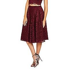 Lipstick Boutique - Berry 'Elisa' floral lace midi skirt