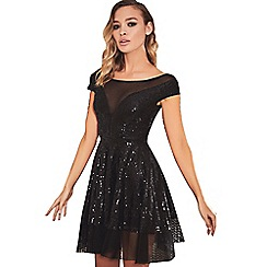 Sistaglam - Black 'Adina' sequin prom dress