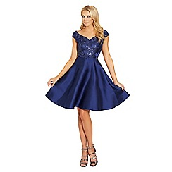 Sistaglam - Navy 'Pearla' embellished sateen prom dress