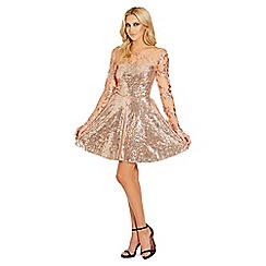 Sistaglam - Rose Gold 'Esmay' Skater Dress
