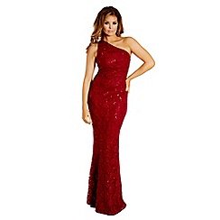 Jessica Wright for Sistaglam - Berry 'Alison' sequin lace one shoulder maxi dress