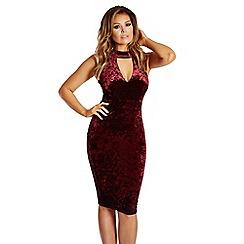 Jessica Wright for Sistaglam - Berry 'Roxanne' velvet high neck plunge bodycon dress