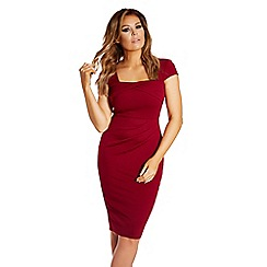 Jessica Wright - Oxblood 'Klara' square neck ruched bodycon dress
