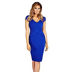 Jessica Wright - Cobalt 'Alissa' structured pleat midi dress