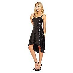 Lipstick Boutique - Black 'Sassy' sequin dip hem dress