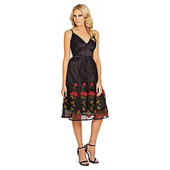 Sistaglam - Black 'Clio' embroidered cami prom dress