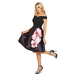 Sistaglam - Black 'Levana' 2 in 1 floral sateen prom dress