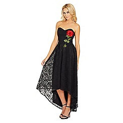 Sistaglam - Black 'Raney' bandeau high low lace dress