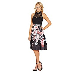 Sistaglam - Black 'Fabia' lace halterneck 2 in 1 printed prom dress