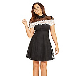 Jessica Wright for Sistaglam - Black 'Leighton' lace tie neck skater dress