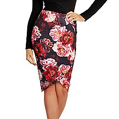 Jessica Wright for Sistaglam - Pink 'Andrea' floral wrap front pencil skirt