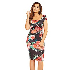 Jessica Wright for Sistaglam - Black 'Elsa' floral square neck ruched bodycon dress