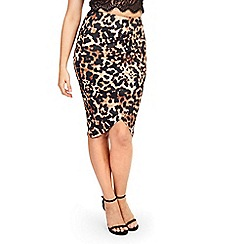 Jessica Wright - Leopard print 'Cat' wrap front pencil skirt