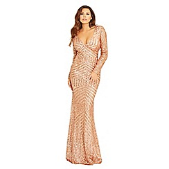 Jessica Wright for Sistaglam - Rose gold 'Valentina' sequin embellished maxi dress