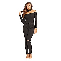 Jessica Wright for Sistaglam - Black 'Harper' high waisted slit jeans