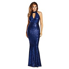 Jessica Wright for Sistaglam - Navy 'Erini' all over sequin high neck maxi dress