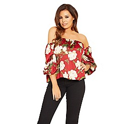 Jessica Wright for Sistaglam - Red 'Amarie' floral satin bardot top