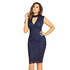Jessica Wright for Sistaglam - Navy 'Matilda' sequin lace high neck bodycon dress