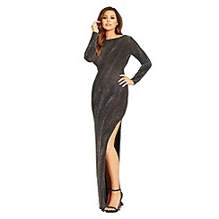 Jessica Wright for Sistaglam - Black 'Paloma' lurex cowl back maxi dress