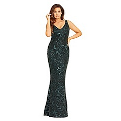 Jessica Wright for Sistaglam - Black and forest green 'Deena' all over sequin maxi dress