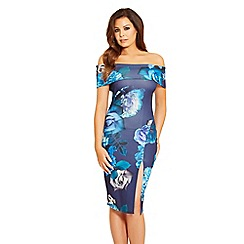 Jessica Wright for Sistaglam - Black 'Adiya' floral print bardot wrap bodycon dress