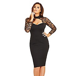 Jessica Wright for Sistaglam - Black 'Clancy' lace sweetheart bodycon dress