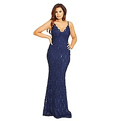 Jessica Wright for Sistaglam - Navy 'Shana' lace cami strap maxi dress