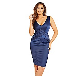 Jessica Wright for Sistaglam - Navy 'Estelle' pleated bodycon dress