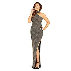 Jessica Wright for Sistaglam - Gold 'Mischa' one-shoulder maxi dress