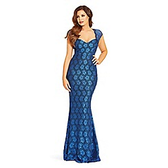 Jessica Wright for Sistaglam - Blue 'Analisa' sequin lace maxi dress