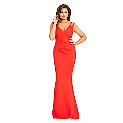 Jessica Wright for Sistaglam - Red 'Dannie' jewel strapped pleated maxi dress