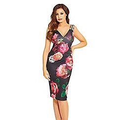 Jessica Wright for Sistaglam - Pink 'Elodie' floral print pleated midi dress