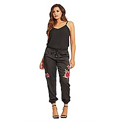 Jessica Wright for Sistaglam - Black 'Prim' embellished satin trousers