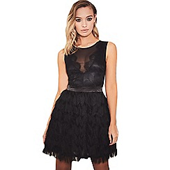 Sistaglam - Black 'Coco' lace top fringed skirt mini dress
