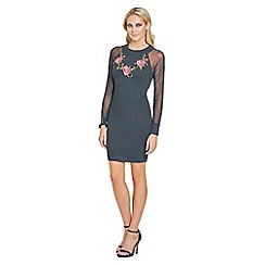Sistaglam - Black 'Isadora' sheer sleeved trimmed bodycon jumper dress