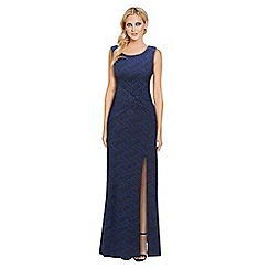 Sistaglam - Blue 'Chantelle' glitter lurex knot front maxi dress