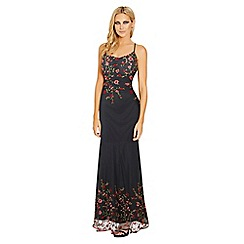 Sistaglam - Black 'Maya' embroidered mesh cami strap maxi dress