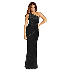 Jessica Wright for Sistaglam - Black 'Aleeca' velvet one shoulder maxi dress
