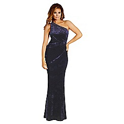 Jessica Wright for Sistaglam - Navy 'Aleeca' velvet one shoulder maxi dress
