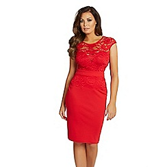 Jessica Wright for Sistaglam - Red 'Bliss' lace detail bodycon dress