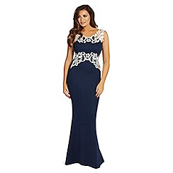 Jessica Wright for Sistaglam - Navy 'Karis' navy lace trim maxi dress