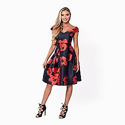 Jessica Wright for Sistaglam - Red and black 'Rose' floral prom dress