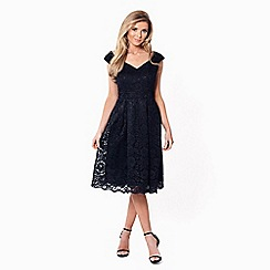 Sistaglam - Black 'Jadey' lace bardot prom dress
