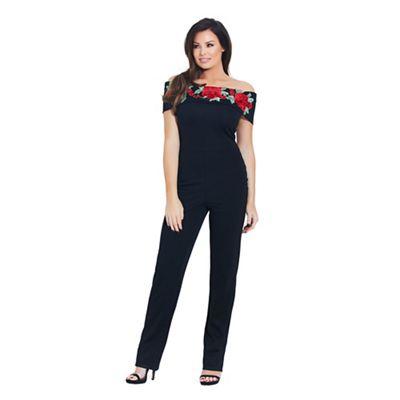 Jessica Wright For Sistaglam Black U0026#39;Jordinau0026#39; Embroidered Jumpsuit | Debenhams
