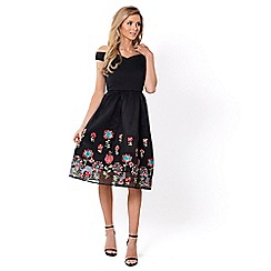 Sistaglam - Black 'Lilanna' floral prom dress