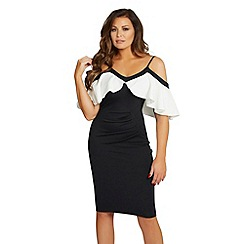 Jessica Wright for Sistaglam - Monochrome 'Mazie' cold shoulder bodycon dress
