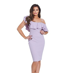 Jessica Wright for Sistaglam Lilac 'Lilah' frill bodycon dress